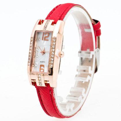 Ceas dama rosu cadran auriu profil
