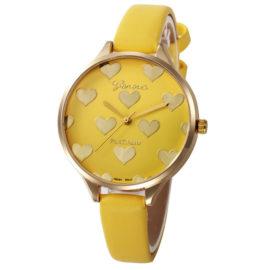 Ceas feminin galben cu inimioare