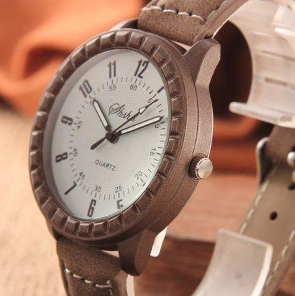 Ceasuri cuplu maro cadran alb cadran