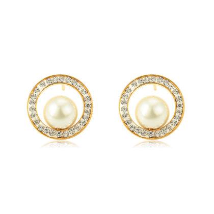 Cercei sfere perle placati aur