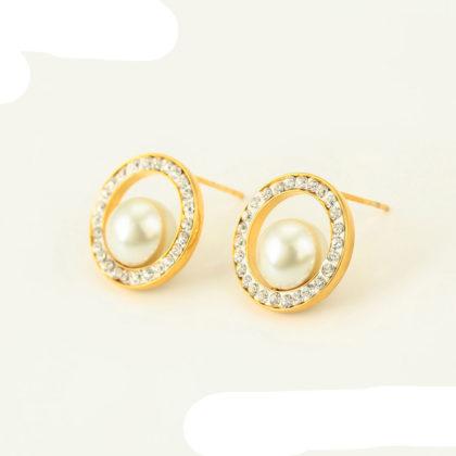 Cercei sfere perle placati aur fata