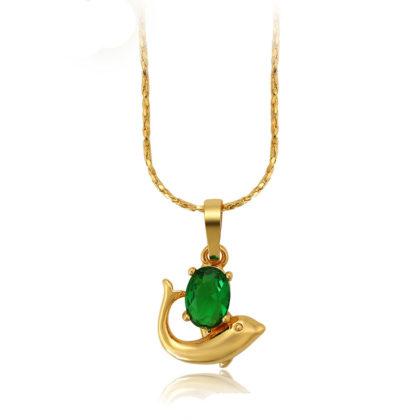Colier placat aur delfin cristal verde