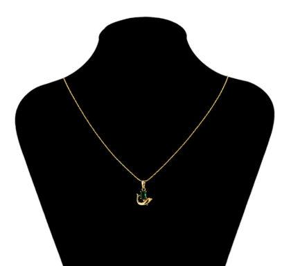 Colier placat aur delfin cristal verde bust