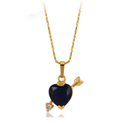 Colier placat aur inimioara cristal albastru