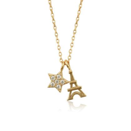 Colier placat aur turnu Eiffel