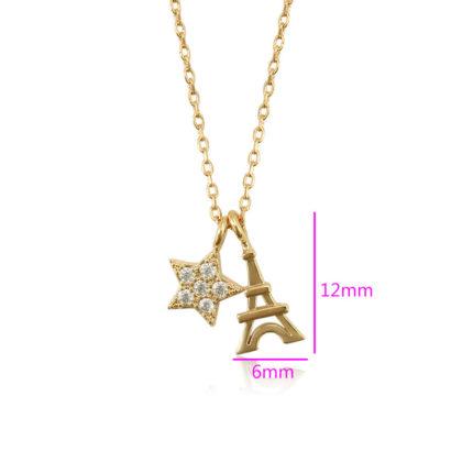 Colier placat aur turnu Eiffel dimensiuni