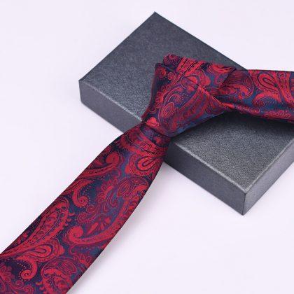 Cravata barbati bordo cu model Fred fata