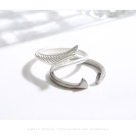 Inele cuplu argint 925 ajustabile aripa