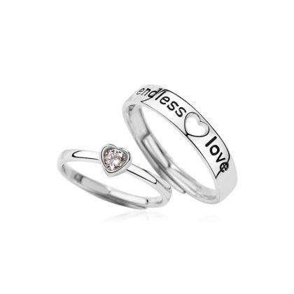 Inele cuplu argint 925 ajustabile Endless Love