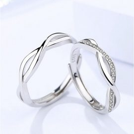 Inele cuplu argint 925 incrucisate zirconiu