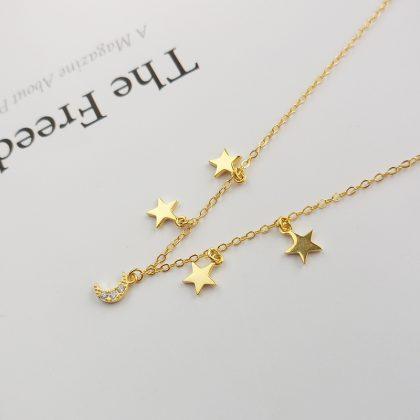 Lantisor argint 925 luna stele placat aur sus