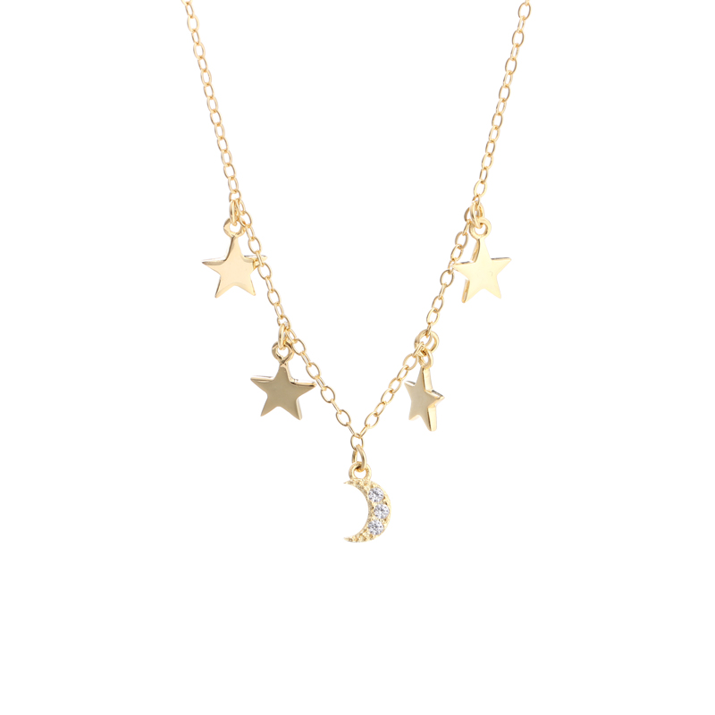 Lantisor argint 925 luna stele placat aur