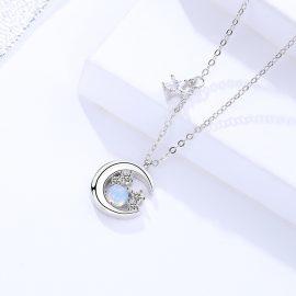 Lantisor argint 925 semiluna zirconiu