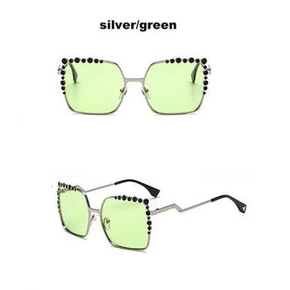 Ochelari de soare argintii lentile verzi