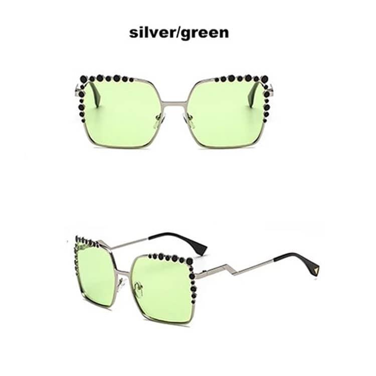 frumosi pantofi boutique outlet multiple culori Ochelari de soare argintii lentile verzi – Accessories For You
