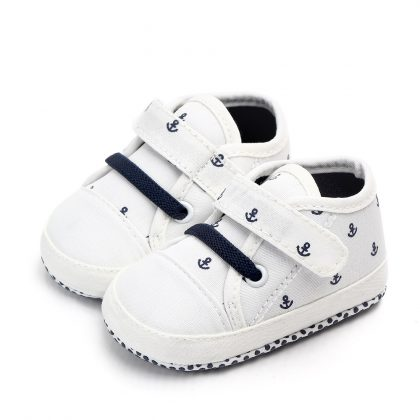 Pantofi canvas albi 0-6 luni