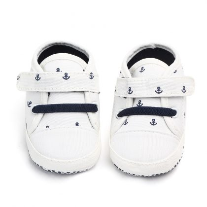 Pantofi canvas albi 0-6 luni fata