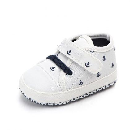 Pantofi canvas albi 0-6 luni model