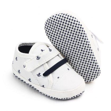 Pantofi canvas albi 0-6 luni talpa