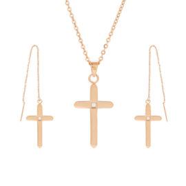 Set colier si cercei cruciulita placat aur