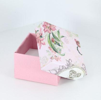 Cutie cadou inel/cercei roz model floral