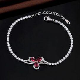 Bratara argint 925 floricica zirconiu roz