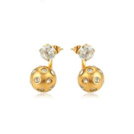 Cercei bilute cristale placati aur