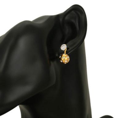 Cercei bilute cristale placati aur model