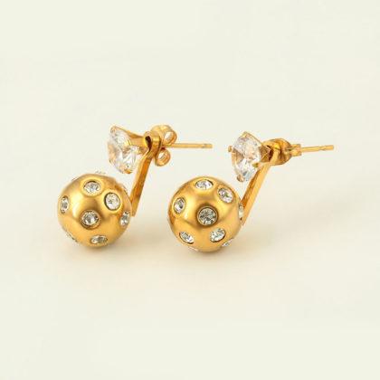 Cercei bilute cristale placati aur profil