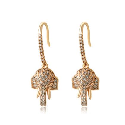 Cercei cristale elefant placati aur