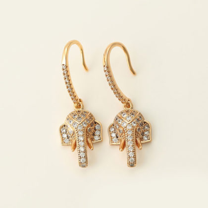 Cercei cristale elefant placati aur sus