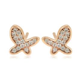 Cercei mici fluturasi placati aur