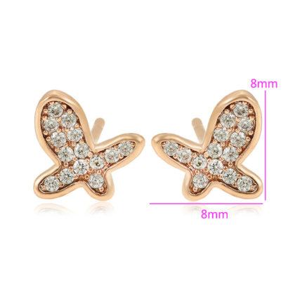 Cercei mici fluturasi placati aur dimensiuni