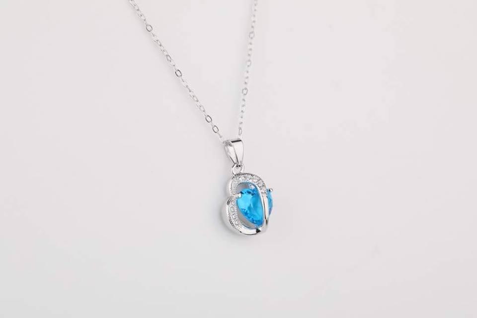 Colier argint 925 model inima cristal albastru