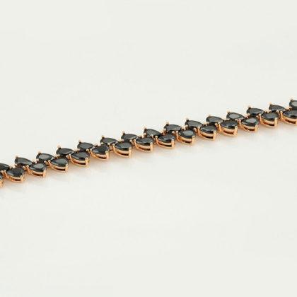Bratara eleganta cristale negre placata aur model
