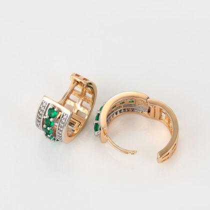 Cercei eleganti cristale verzi placati aur sus
