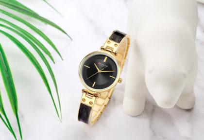 Ceas elegant dama negru auriu Curren fata