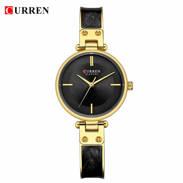 Ceas elegant dama negru auriu Curren