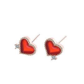 Cercei mici inimioare argint 925 placati aur