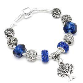 Bratara charm copacul vietii cristale albastre