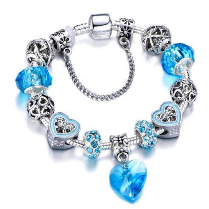 Bratara charm inimioara cristale albastre