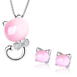 Set argint 925 colier si cercei perlute roz