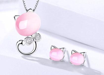 Set argint 925 colier si cercei perlute roz fata