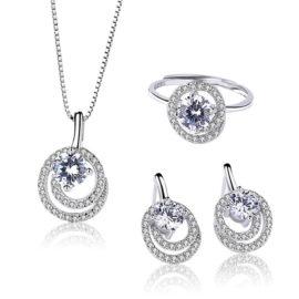Set argint 925 elegant colier cercei si inel zirconiu