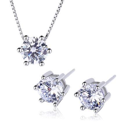 Set elegant argint 925 colier si cercei zirconiu