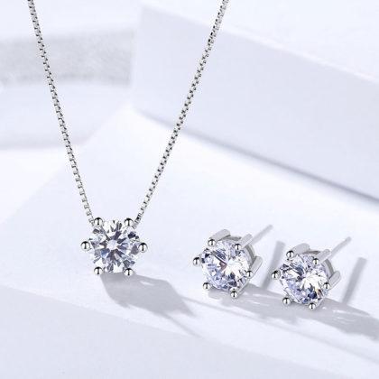 Set elegant argint 925 colier si cercei zirconiu fata