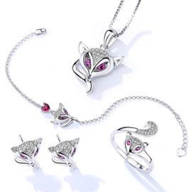 Set vulpita argint 925 colier cercei bratara si inel