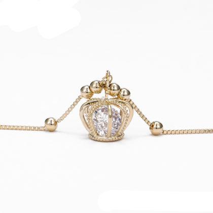 Bratara eleganta placata aur coronita pandantiv