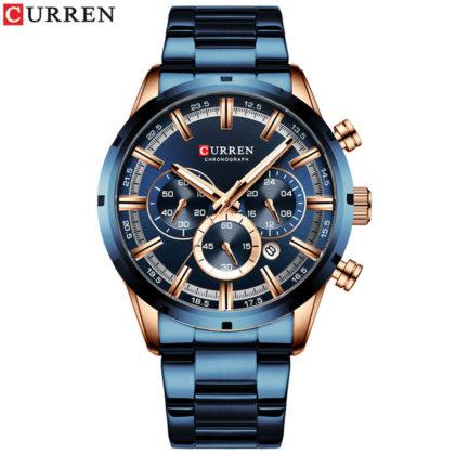 Ceas business albastru cronograf Curren