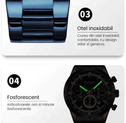 Ceas business albastru cronograf Curren cadran